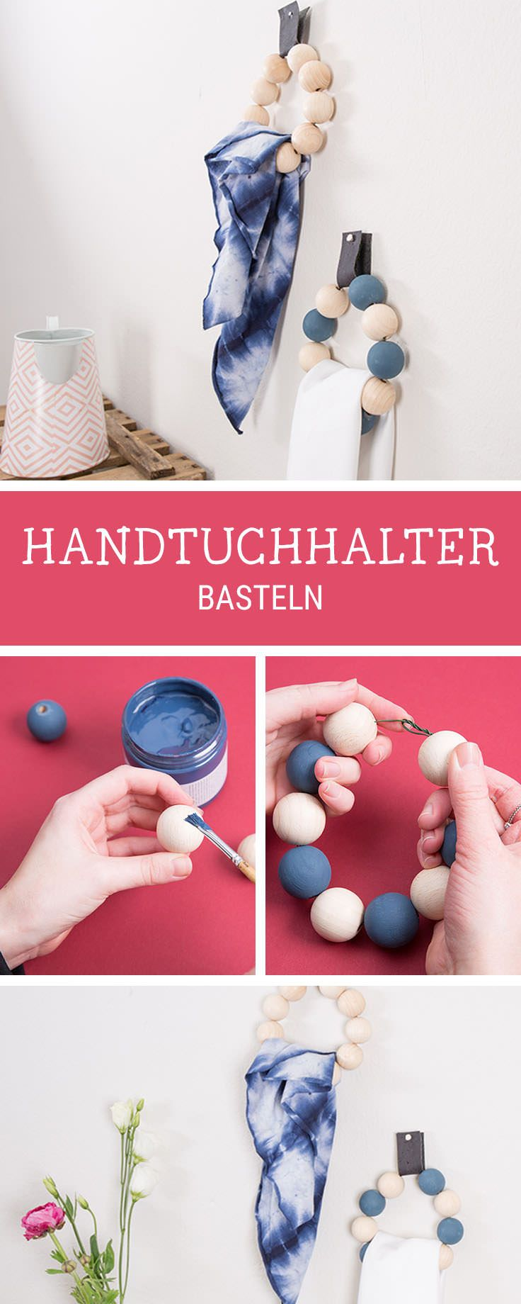 Handtuchhalter fürs Bad selbermachen: Halterung aus Holzperlen basteln / crafting inspiration for a towel rail made of wooden pearls, easy diy via DaWanda.com