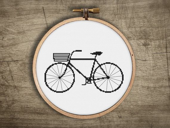hipster cross stitch pattern  retro modern basket bike  di futska