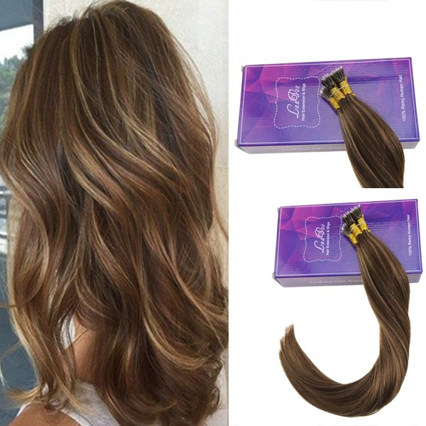Nano Ring Remy Human Hair Extensions Dark Brown Highlights With
