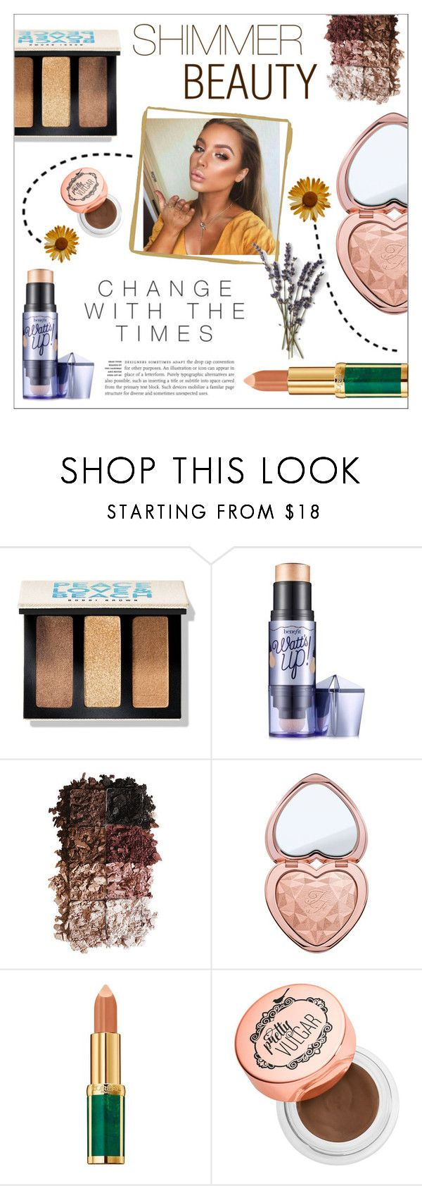 """""""SHIMMER BEAUTY"""" by sodapopcandy ❤ liked on Polyvore featuring beauty, Bobbi Brown Cosmetics, Benefit, LORAC, Too Faced Cosmetics, Balmain, Sephora Collection, NudeMakeup, highlighter and shimmering"""