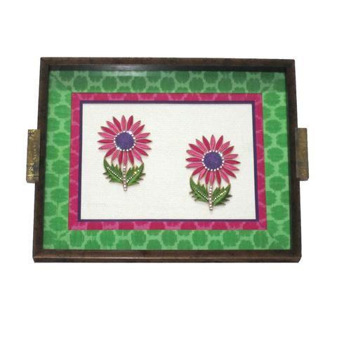 Wooden Sunflower Motif Tray, Green - FOLKBRIDGE.COM | Buy Gifts. Indian Handicrafts. Home Decorations.