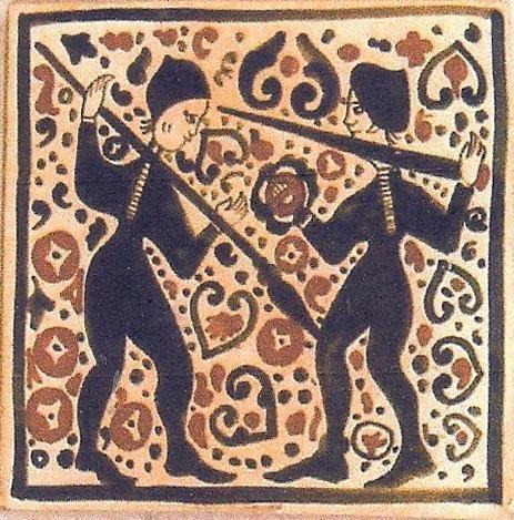 """Cerámica Artística Valencia – Azulejos y Gres - Azulejo Medieval """"Socarrat"""" - Azulejo Socarrat - Lucha"""
