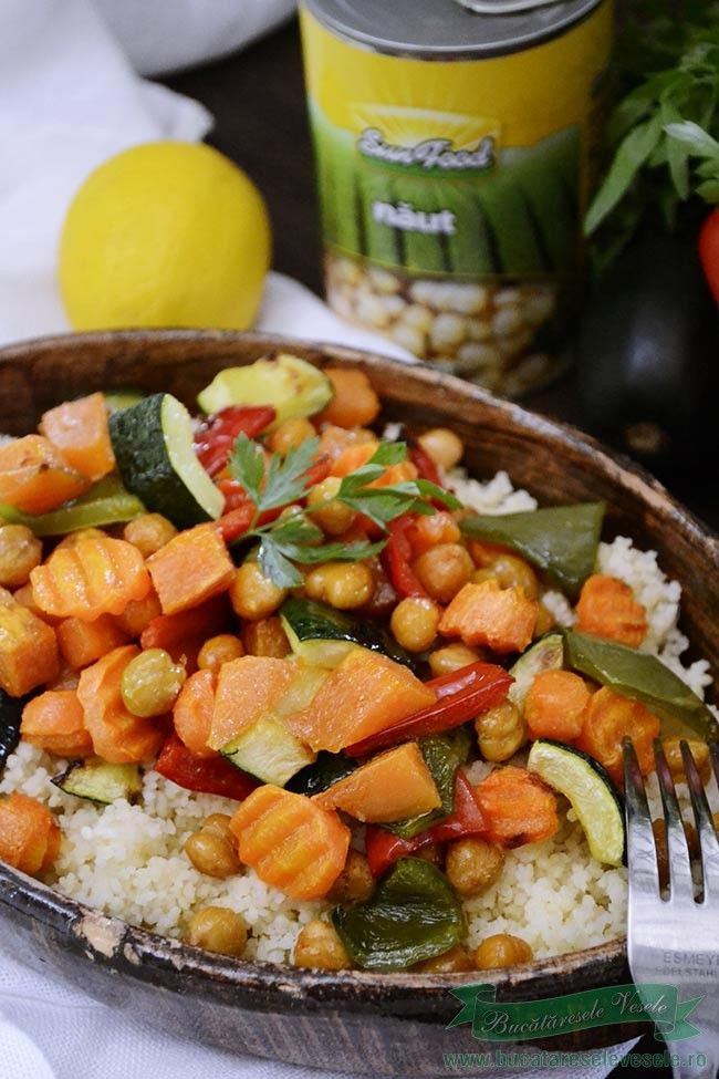 Cuscus cu naut si legume coapte .Cum se pregateste cuscus cu naut si legume…