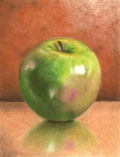 Colored Pencil Drawing Tutorial - How to draw a Green Apple