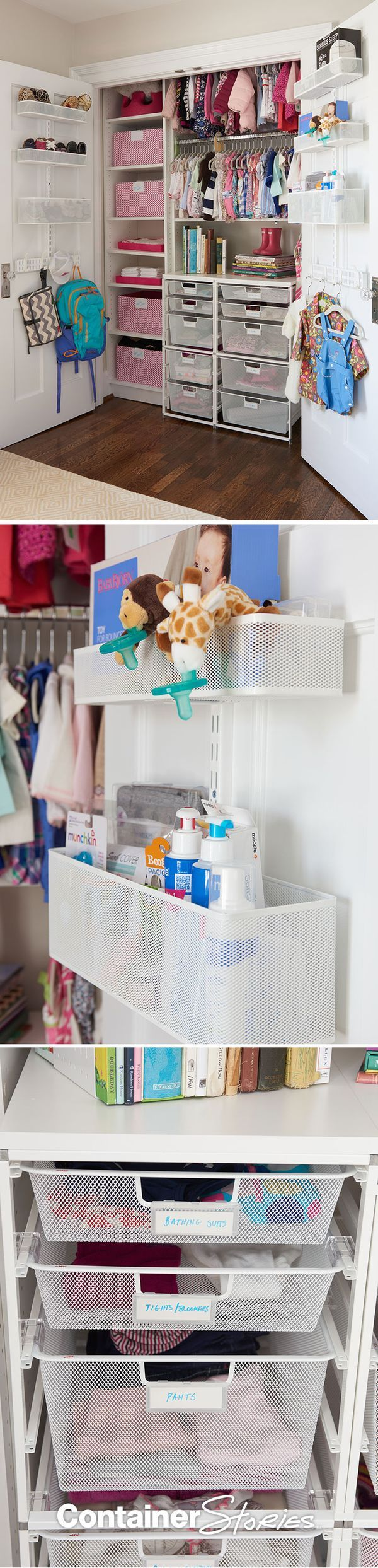 Check out how we used elfa custom closet solutions, gingham bins and more to perfectly organize this sweet newborn's new nursery!