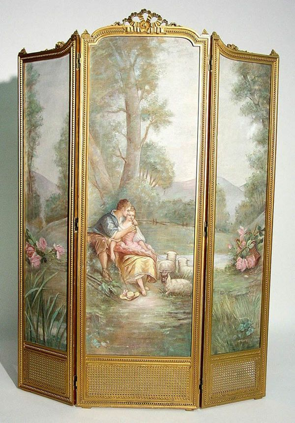 LOUIS XVI STY 3-PANEL BOUDOIR SCREEN,