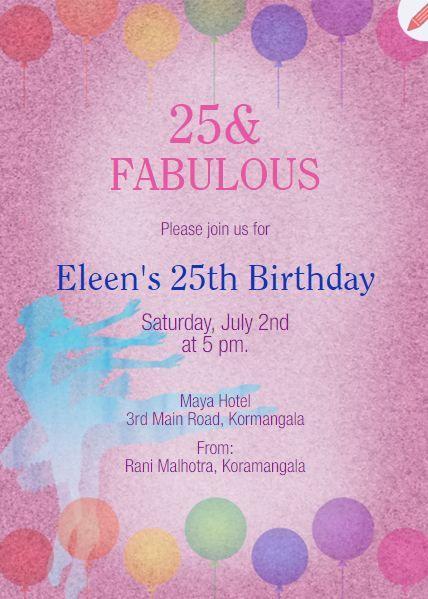 25th Birthday Party Invitation