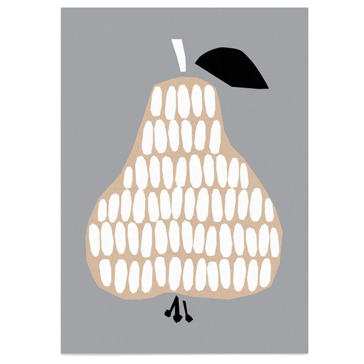 Darling Clementine harvest series grey pear poster - unframed (50 x 70 cm)   room to decorate   scandinavian and vintage designed homewares - online shop