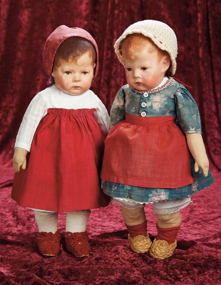 Pair, German Cloth Character Dolls by Kathe Kruse with Large Wardrobe of Costumes 4000/6000