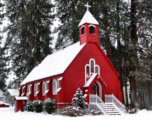 ~ Oh the Beauty of a Red Country Chapel on a Snowy Day ~ ♥ ~ Fort Sherman Chapel Constructed in 1880 in Coeur d'Alene, Idaho ~ Fort Sherman Chapel is Coeur d'Alene's oldest church, school, library and meeting hall.
