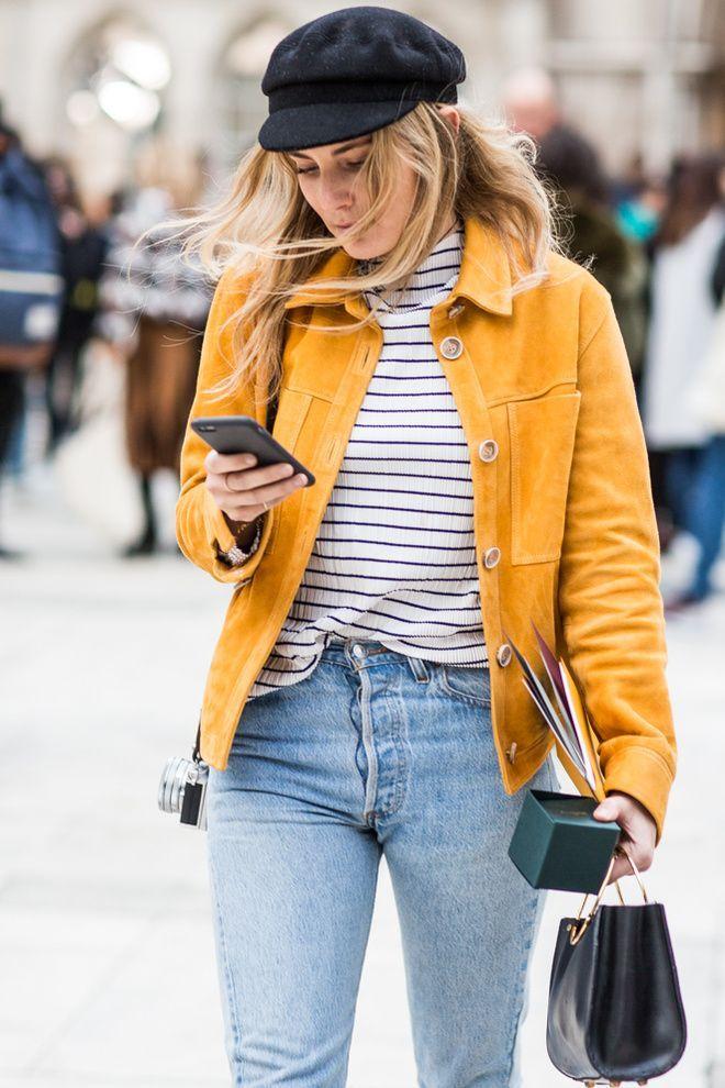 Denim   Outfit   Sailor cap   Yellow   Stripes   More on Fashionchick.nl