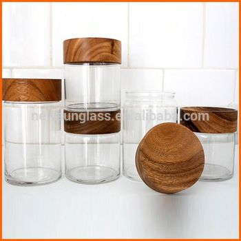 Wholesale new design clear glass jars with wood lid