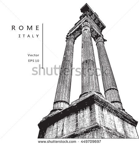 Architectural columns near the Theatre of Marcellus in Rome, Italy.   Vector illustration. EPS 10. Image reworked after Auto-Trace for easy editing.