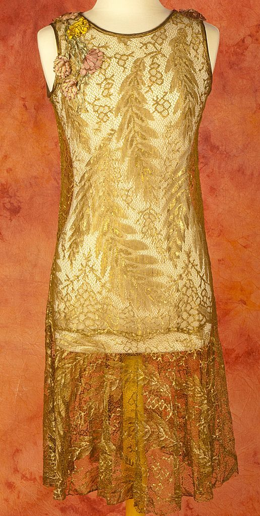 EXCEPTIONAL 1920's French Gold Metallic Lace Dress & Lamé Slip Dress- Pictured Separate and Married