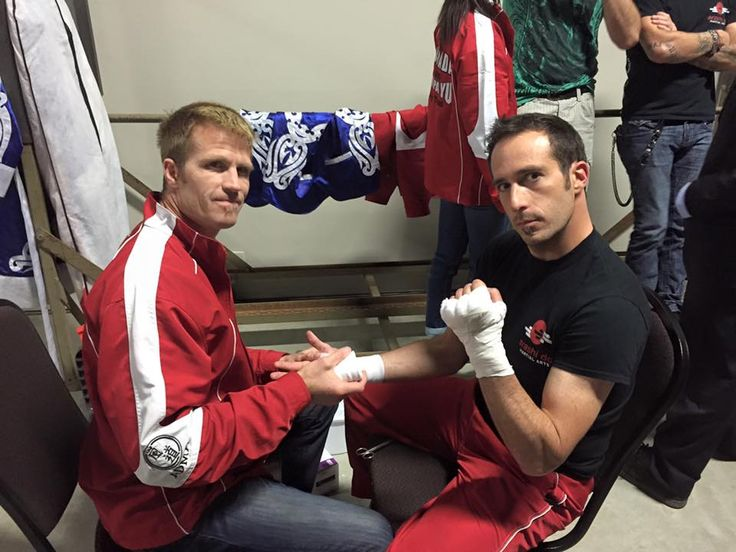 Renshi Russell preparing for his Muay Thai fight on Lyle Cheney's card in Red Deer