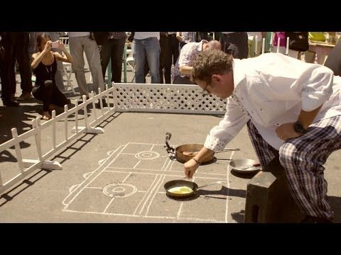 """""""Global Warming Menu, a meal cooked on hot asphalt."""" Less trees = more heat. #amazing #video#awarness #food #health#planet #breakfast"""