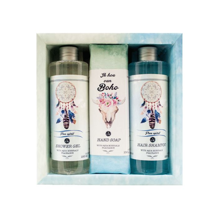 Gift pack Boho (Dead Sea): Shower Gel 250 ml, Hair Shampoo 250 ml, Hand Made Soap 150g.    Best Gift for her, girls, ladies, fashion lovers..