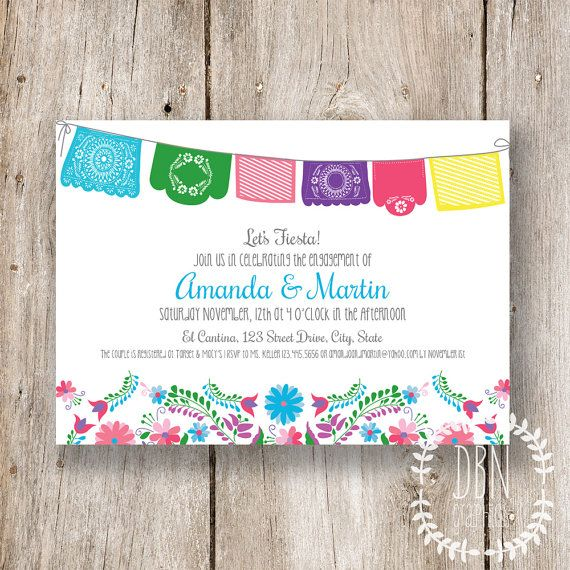 Let's Fiesta /// Wedding, Bridal, Baby Shower /// 5x7 Printable Invitations /// DIY Party /// Instant Download by DBNGraphics