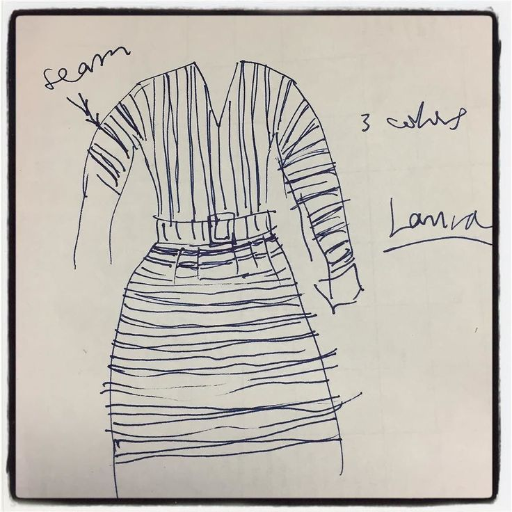 Hey @sophomorestudio asked #widn - nothing crafty so I'm posting a quick sketch I made of a striped dress Gene Tierney was wearing in the 1944 film Laura which was on TCM recently. The stripes were vertical on the bodice and horizontal on the skirt. The belt was made of the dress fabric. It's a great film and she wears some great clothes in it! Hey @sewdiyblog @the_sewing_room_alameda what are you making now?