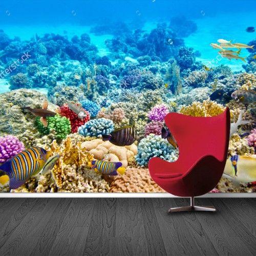 Fotobehang Onder de zee | Maak het jezelf eenvoudig en bestel fotobehang voorzien van een lijmlaag bij YouPri om zo gemakkelijk jouw woonruimte een nieuwe stijl te geven. Voor het behangen heb je alleen water nodig!   #behang #fotobehang #print #opdruk #afbeelding #diy #behangen #onderdezee #onderwater #koraal #oceaan #zee