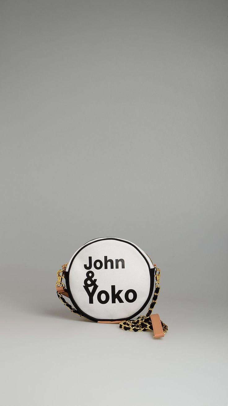 Pomikaki OneBagLove camouflage round crossbody bag, metal chain shoulder strap, wristlet strap.