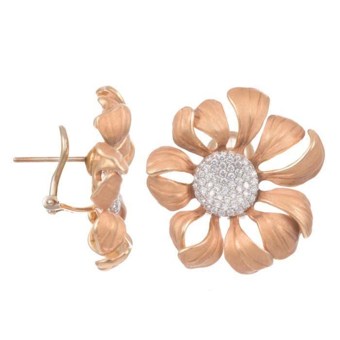 Annamaria Cammilli 18K Two Tone Gold & Diamond Large Daisy Earrings (=)