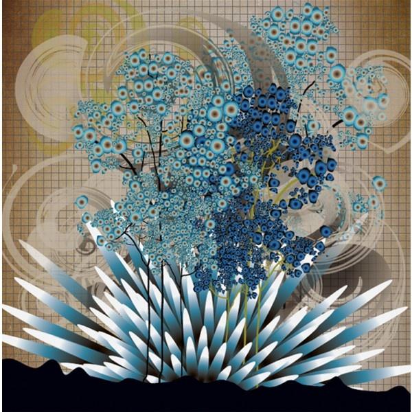 Modern Love Silk Georgette scarf in Blue Tree