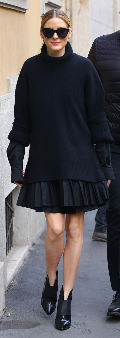 Who made Olivia Palermo's black sunglasses and ankle boots?