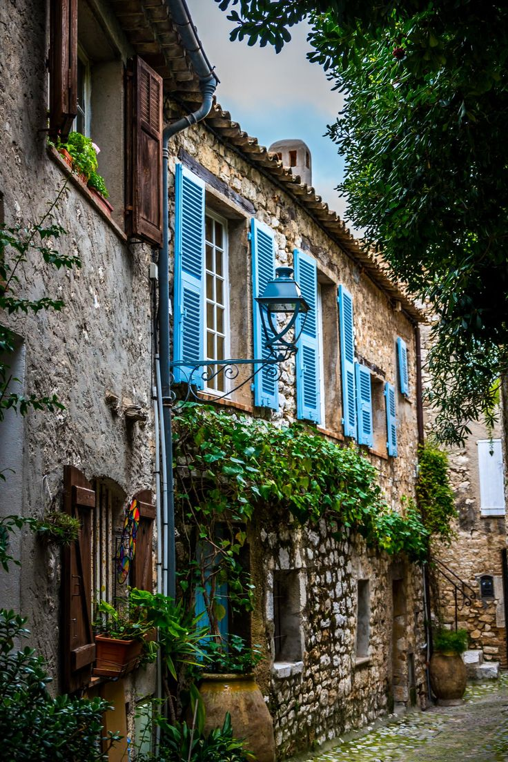 Blue Shutters in the Old Town, Eze, France ....