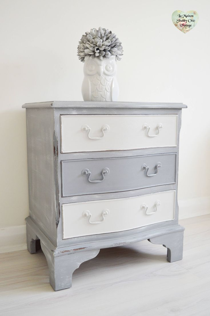 SOLD*** Mid Century Bedside Table Grey Solid Mahogany Cabinet With 3 Draws  Lined Paper, Kids Night Stand, Bedroom Table, Shabby Chic, Table By ...
