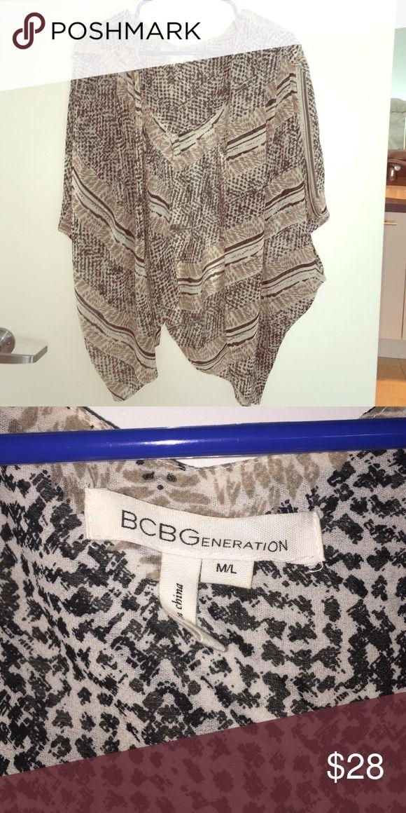 BCBGeneration Blouse Black, cream, brown patterned open front Blouse BCBGeneration Tops Blouses