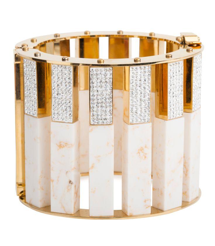 Fall Jewelry Guide at #ShopBAZAAR: Gold and Granite Jewelry – LeLe Sadoughi Mega Pave Stone Column Slider Bracelet
