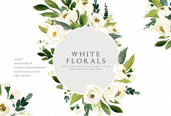 Watercolor White Flower Clip Art Flower Clipart White Flower