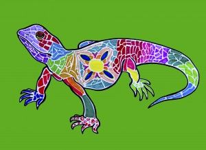 Dieren decoreren in de stijl van Gaudi (met viltstift) Animals decorated with mosaics inspired by Gaudi