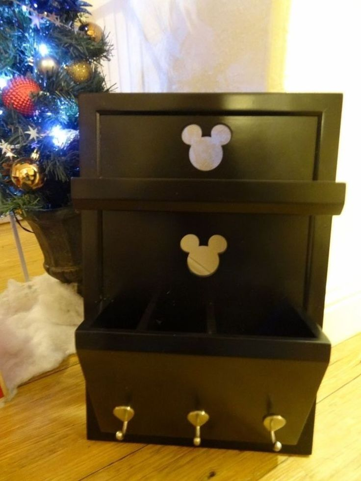 Disney Mickey Mouse Cutout Entryway Shelf with Mail Holder and Key hooks