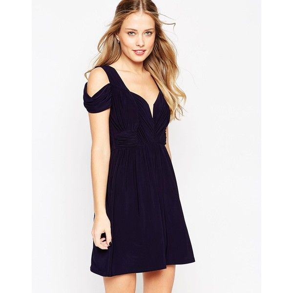 ASOS WEDDING Drape Cold Shoulder Mini Dress (€59) ❤ liked on Polyvore featuring dresses, navy, sweetheart cocktail dress, slimming dresses, draped dress, short sweetheart dress and tall dresses