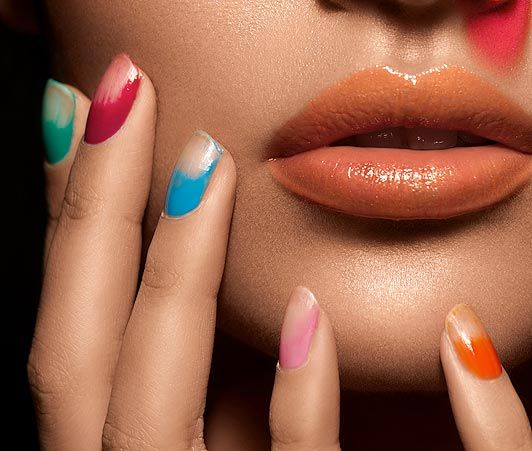 Bleached-Tip Nail effect. Interesting, I'll have to try this.