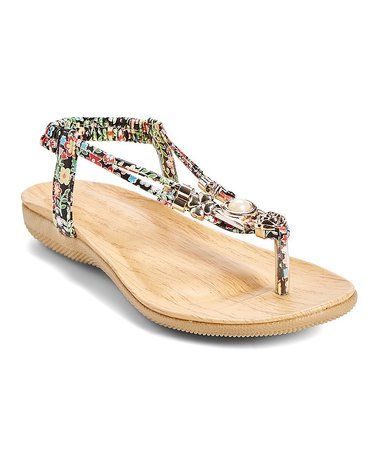 19b56b44a5d1 Look what I found on  zulily! Black Floral T-Strap Sandal  zulilyfinds