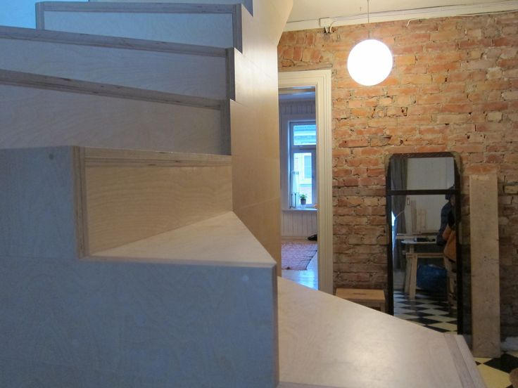 Plywood stairs to the attic