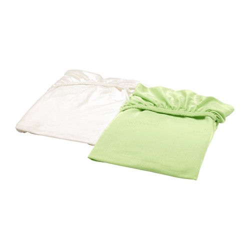 IKEA - LEN, Crib fitted sheet, , The elastic keeps the sheet in place on the mattress.Made from 100% cotton, a natural material that's soft against your child's skin and gets softer with every wash.