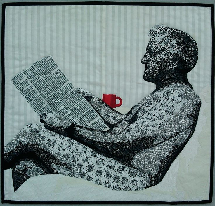 'Black and white and read all over.' First place, Otago Quilt and Patchwork Association 2017.