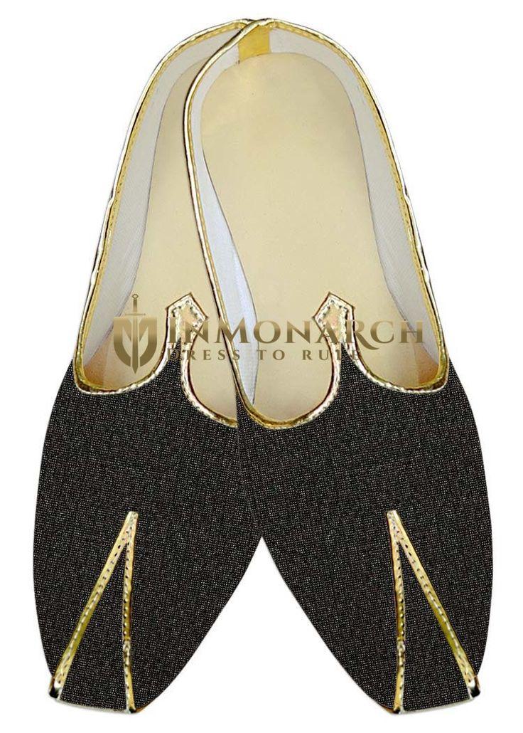 Mens Dark Gray Floral Jute Polyester Wedding Shoes MJ015384