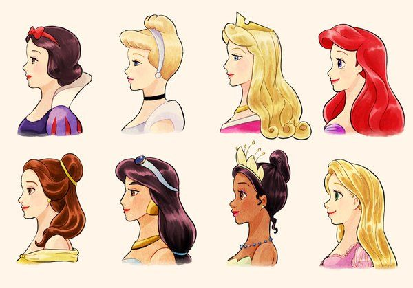 Disney Princesses: Snow White, Cinderella, Aurora, Ariel, Belle, Jasmine, Tiana, and Rapunzel