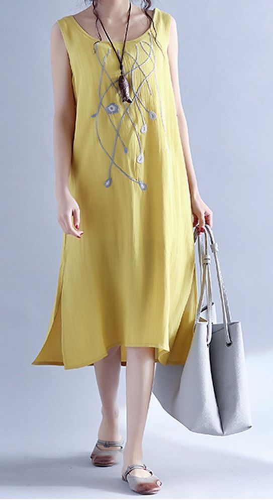 Women loose fit plus size dress flower yellow dress maxi tunic summer casual #unbranded