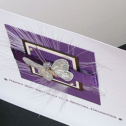Luxury Boxed Birthday Card for Mum, Daughter, Sister, Nan- 'Purple Butterfly' for 18th, 21st, 30th, 40th, 50th, 60th, 70th, 80th, 90th
