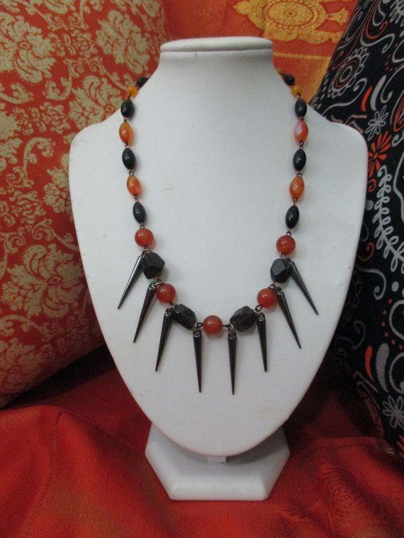 Halloween Queen Orange and Black Beaded Necklace with Gun