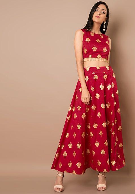 483d8d41dd Pink Lotus Foil Print Silk Maxi Skirt   Saris & more   Skirts, Pink ...