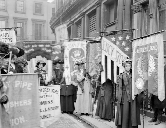 Soldiers in petticoats: Suffragettes taking part in a pageant organised by the National Union of Women's Suffrage Societies, June 1908