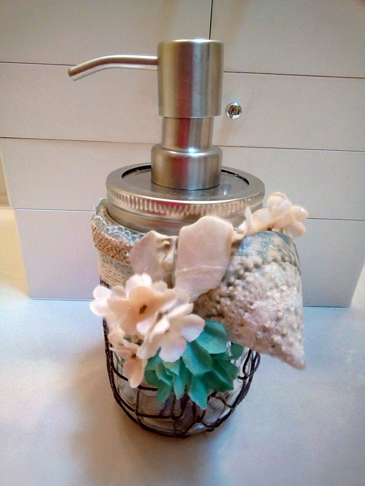 Amazon.com: Mason Jar Beach Style Soap Dispenser and Toothbrush Holder: Home & Kitchen
