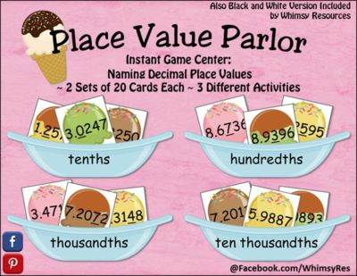Decimal Place Value Parlor Ice Cream from Whimsy Resources on TeachersNotebook.com -  (16 pages)  - Decimal Place Value Parlor  Instant Math Center  Identify Decimal Place Value